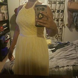 David's Bridal Yellow bridesmaid dress